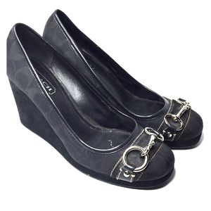 "Coach issy 8.5m 3"" black wedge"